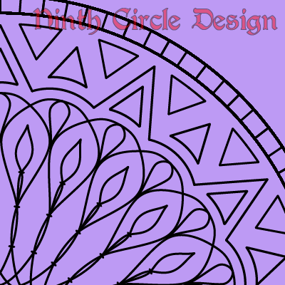 square image, purple background, portion of a radially symmetric geometric design (aka mandala) in black outline