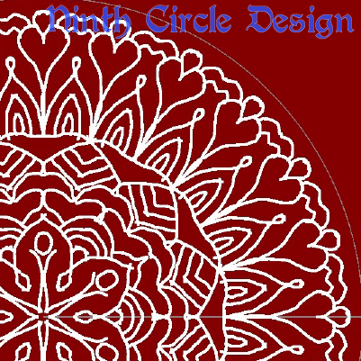 square image with dark red background, white outlines of a portion of a mandala (radially symmetric geometric design) centered near lower left