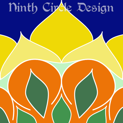 square image, blue background, portion of a mandala issuing from center bottom in green, orange, and yellow leaves and petals