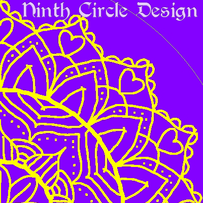 square image, purple background, yellow outline mandala centered on the lower left of the image