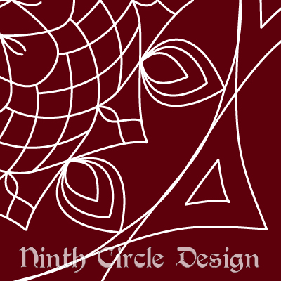 square image, maroon background, white outlines of a mandala centered on the upper left