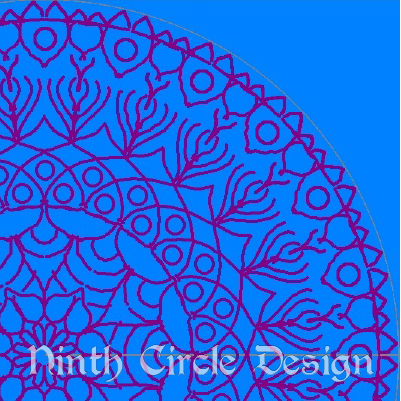 square image, blue background, red outlines of a mandala centered near lower left