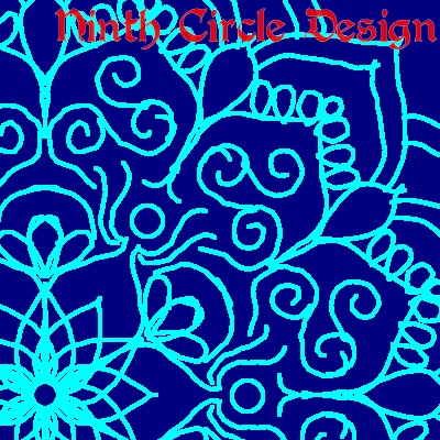 square image, dark blue background, light blue outlines of a mandala centered in lower left