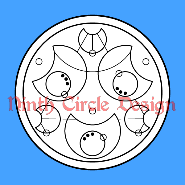 square image, blue background, white circle containing circular design in black lines on white, saying 'love is love is love is' in circular Gallifreyan