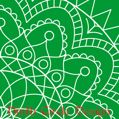 square image, green background, white outline mandala centered on the lower left corner