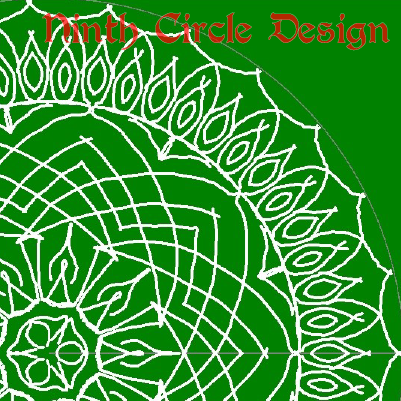 square image, green background, white outline mandala centered near lower left
