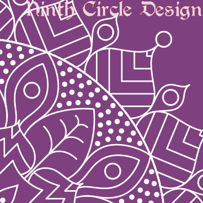 square image, purple background white outline mandala centered in lower left