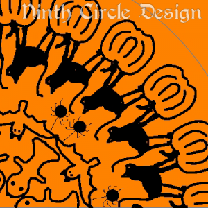 square image, orange background, radially symmetric design centered in lower left with ghosts, bats, spiders, cats, and pumpkins from the center out