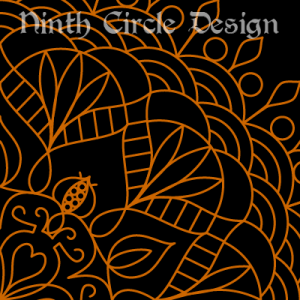 black background, orange outlines of a radially symmetric mandala centered on lower left