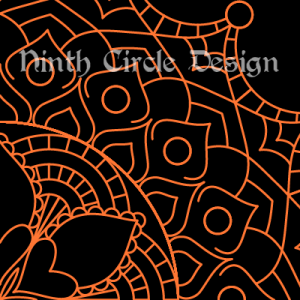 square image, black background, orange outlines of a radially symmetric mandala centered on lower left