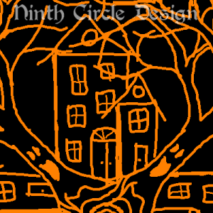 square image, black background, orange outline of a 4-fold mandala of alternating haunted houses and trees with screaming faces