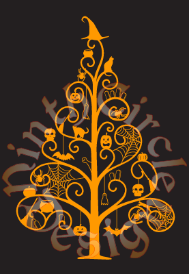 black background, orange silhouette of a sparse pine tree with spooky elements for ornament, topped with a witchy hat, circular watermark in greys