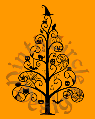 orange background, black silhouette of a sparse pine tree with spooky elements for ornament, topped with a witchy hat, circular watermark in greys