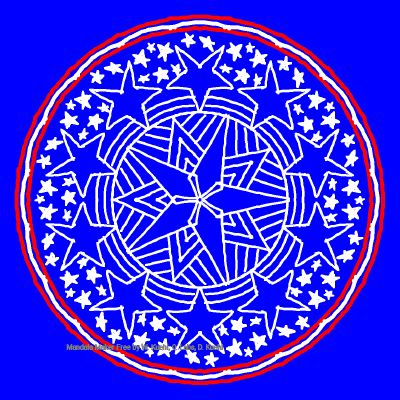 blue background, white outline mandala doodle with a little bit of red