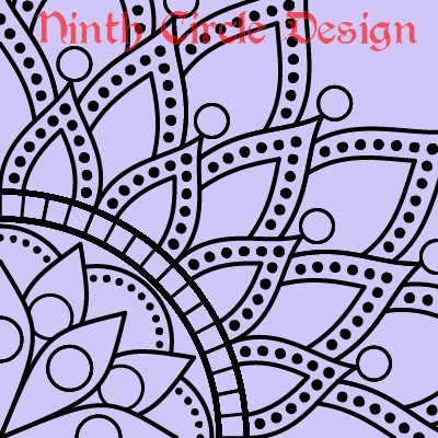 light purple background, black outline mandala with many dots, centered on lower left