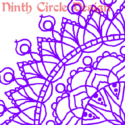 white background, purple outline mandala centered on lower right