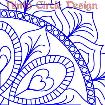 "white background, blue outlines of a mandala centered in lower left, ""Ninth Circle Design"" in red near the top"