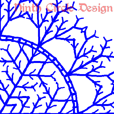 "white background, blue outlines of a snowflake-ish mandala centered in lower left, ""Ninth Circle Design"" in red at the top"