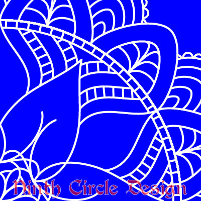 "deep blue background, white outlines of a snowflake-ish mandala centered in lower left, ""Ninth Circle Design"" in red at the bottom"