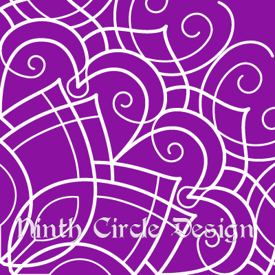 purple background, white outlines of a mandala centered on lower left