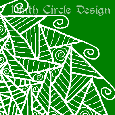 green background, white outlines of a very angular, non-mirrored mandala