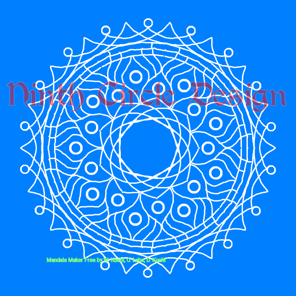 Square image with a blue background and a 9-fold mirror symmetry white-outline mandala