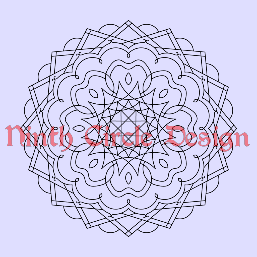 Square light purple background with black outline 8-fold mandala