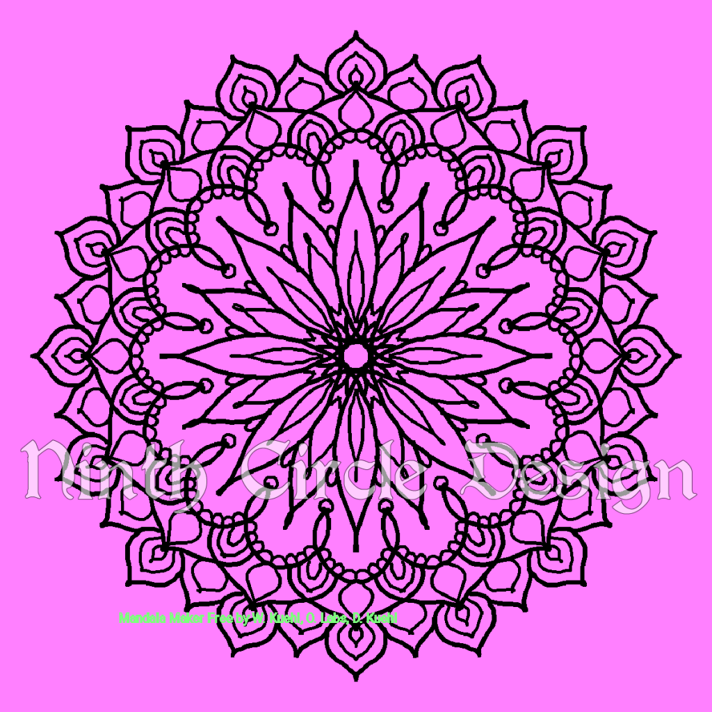 Square image, magenta background, black outline 8-fold symmetry mandala