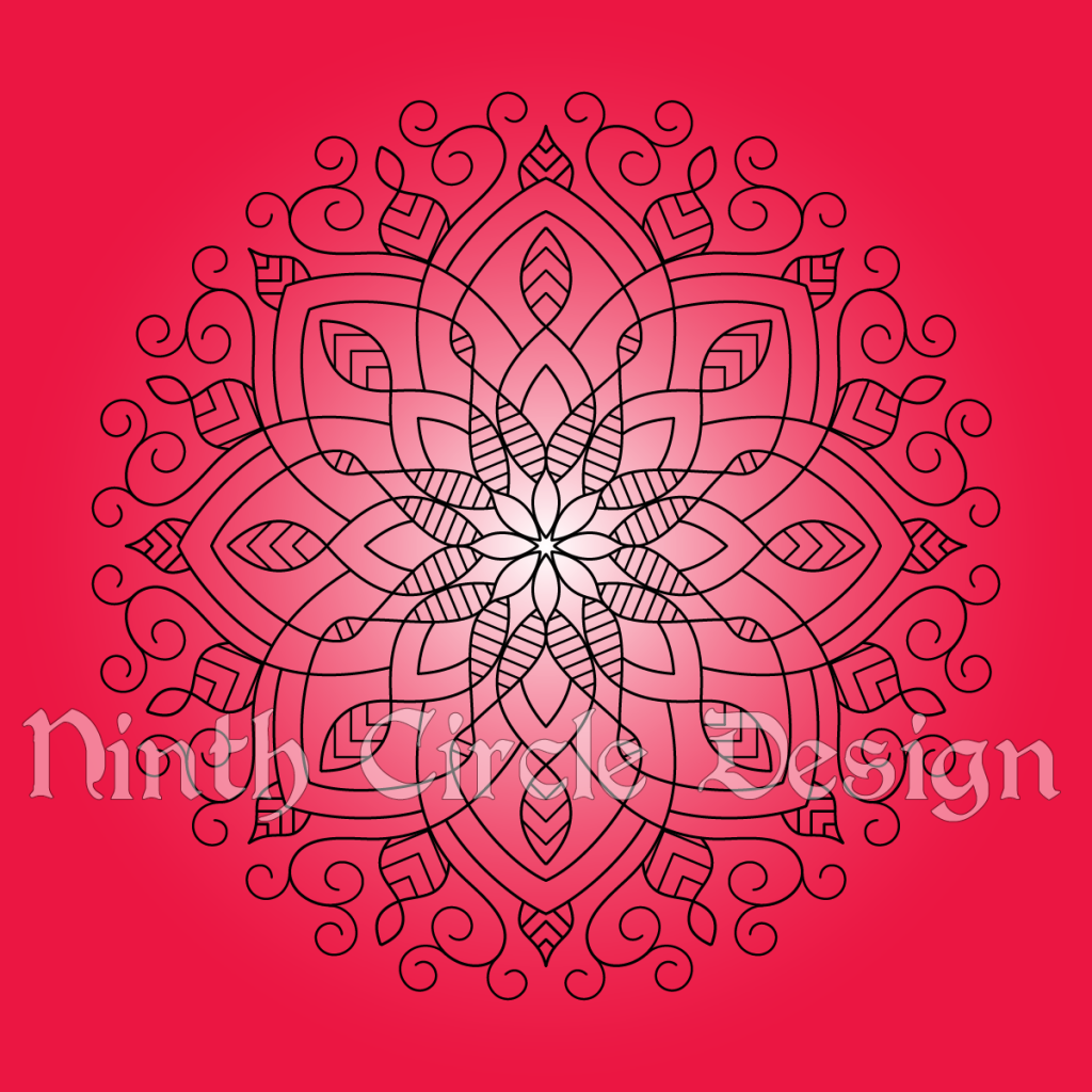 Square image, radial gradient white center to red edges background, black outline 8-fold symmetrical mandala