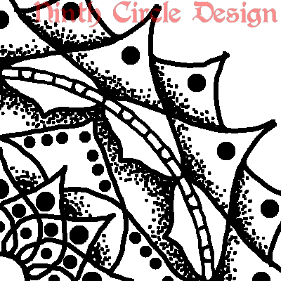 white background, black outline and stippled mandala centered on lower left