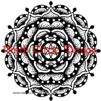 white background, black outline and stippled mandala