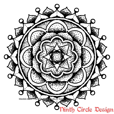 [Image description: white background, black outline and dots and fills mandala with 4-8-16-fold symmetry]