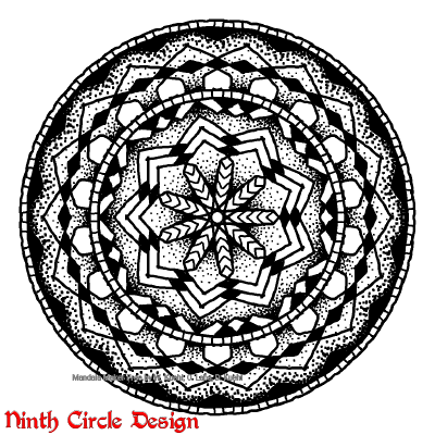 [Image description: white background, black outline and dots and fills mandala with 9-fold symmetry]