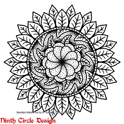 [Image description: white background, black outline and dots and fills mandala with non-mirrored symmetry]
