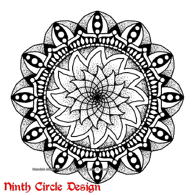[Image description: on a white background, a black outlines/stippled mandala with 12-fold symmetry.]