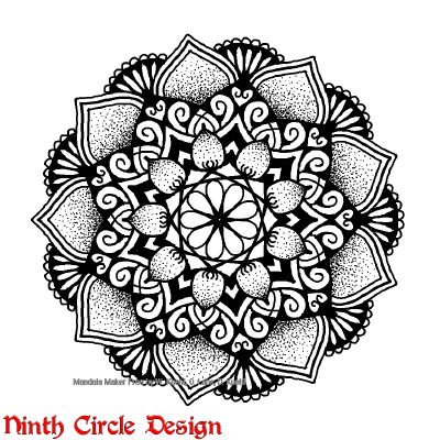[Image description: white background, mandala with 9-fold symmetry in black (outlines, filled spaces, and stippling).]