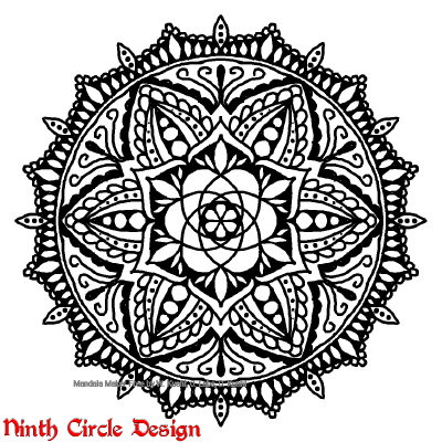 [Image description: on a white background, a black outlined/filled mandala with 6-fold symmetry.]