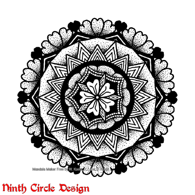 [Image description: on a white background, a black outline, stippled, and solid mandala with 5-fold and 10-fold symmetry.]