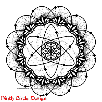 [Image description: on a white background, a black outline and dotted mandala with six and twelve fold symmetry, where part of the center looks like an atomic diagram]