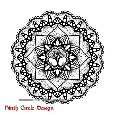 [Image description: white background, mandala with 8-fold and 16-fold symmetry in black (outlines, filled spaces, and stippling), with a sketched tree in the center.]