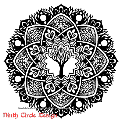[Image description: white background, a mandala in black outlines and fills with 8-fold symmetry and a leafless tree in the center.]