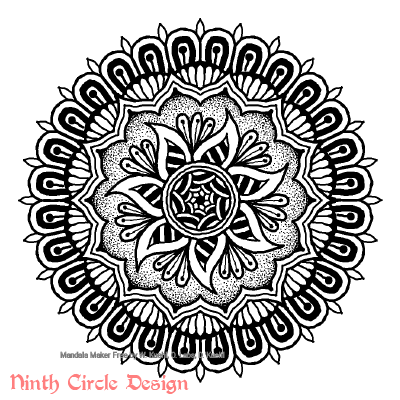 [Image description: white background, a mandala in black outlines, fills, and stippling with 7-fold, 14-fold, and 28-fold symmetry.]