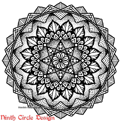 [Image description: white background, a mandala in black outlines, fills, and stippling with 8-fold symmetry.]
