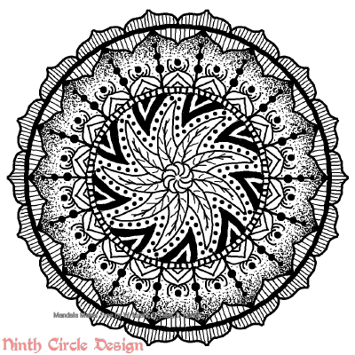 [Image description: white background, a mandala in black outlines and dots with 9-fold symmetry, the center is swirled with no mirror symmetry, the rest has mirror symmetry.]