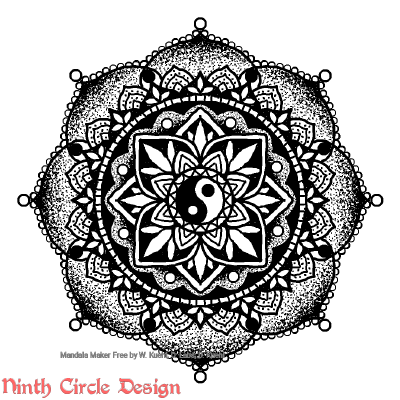 "[Image description: white background, a mandala in black outlines, stippling, and fills with 4-fold/8-fold/16-fold symmetry and a ying-yang in the center. In lower left a red watermark reads ""Ninth Circle Design"".]"