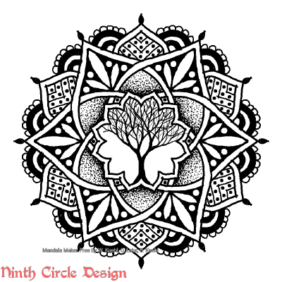 "[Image description: white background, a mandala in black outlines, fills, and stippling, with 6-fold symmetry, and a sketched leafless tree in the center. Red watermark in lower left reads ""Ninth Circle Design"".]"