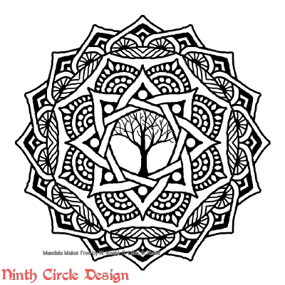 [Image description: white background, a mandala in black outlines and fills with 8-fold symmetry and with a leafless tree in the center.]