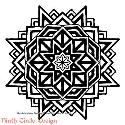 [Image description: white background, a mandala in black outlines and fills with 8-fold symmetry, very geometric.]
