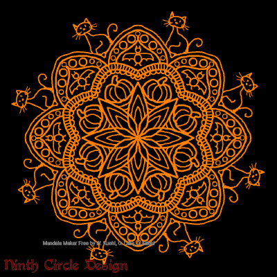 [Image description: black background, a mandala in orange outlines with 8-fold symmetry, including pumpkins, bats, and cats.]