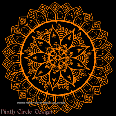 [Image description: black background, a mandala in orange outlines with 8-fold symmetry, including pumpkins, spiders, graveyards, & ghosts.]